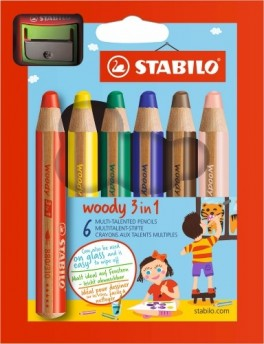Stabilo Woody 3in1 6 stk/pk